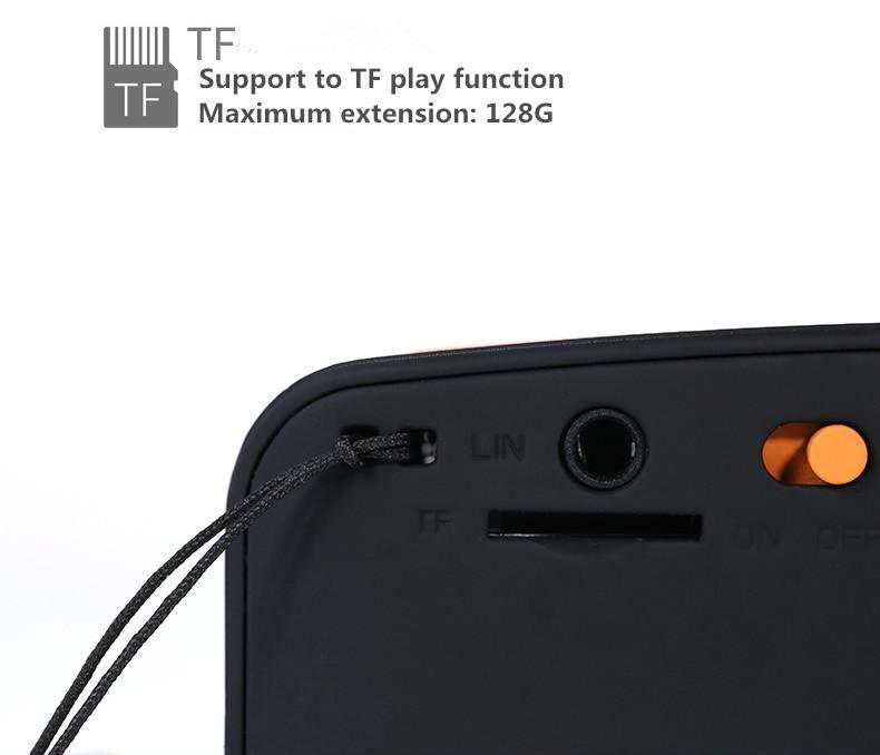 Přenosný reproduktor k mobilu má také slot na paměťové TF karty do velikosti 128giga.