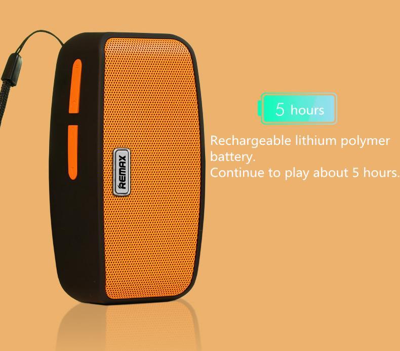 Remax reprák bluetooth má vlastní vestavěnou nabíjecí lithium baterii pro přehrávání až 5hodin.