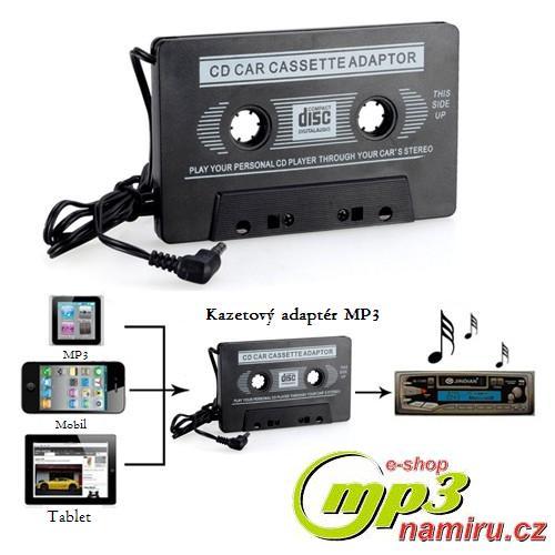 CD/MP3/MD - adaptér do automobilu pro připojení CD přehrávače nebo jiného zdroje zvuku na autorádio s kazetovým přehrávačem.