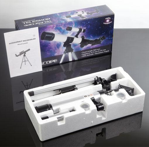 Hvězdářský dalekohled vhodný pro mladé astronomy. Vynikající dárek pro děti, vhodný k pozorování jak vzdálených objektů, tak i oblohy.
