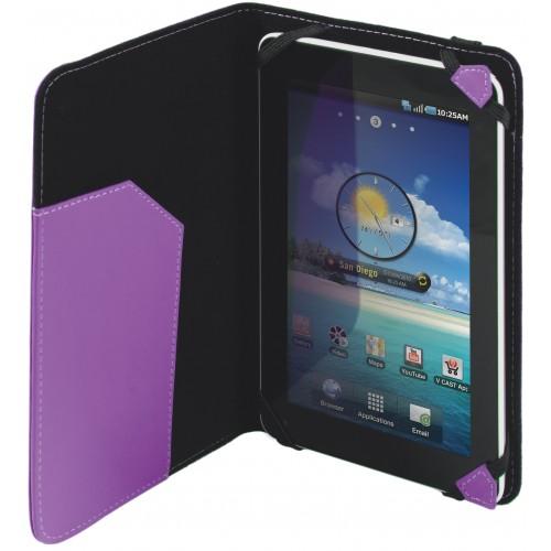 Výrobce Defender pro toto pouzdro zvolil fialové barevné provedení z koženky. Jeho rozměry jsou 200 x 128 mm.