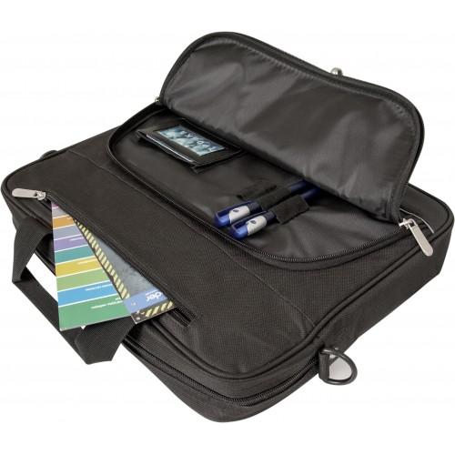 Mimo notebooku pojme brašna i veškeré příslušenství, osobní věci a dokumenty v oddělené kapse. Nechybí praktické madlo na přenášení a délkově nastavitelný ramenní popruh.