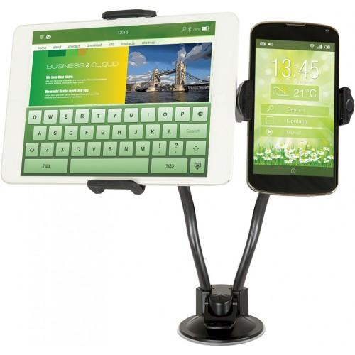 Univerzální držák Defender Car holder 212 je určen pro přichycení dvou zařízení na sklo např. tablet, mobilní telefon, smartphone, PDA, e-book readery, GPS navigace apod.