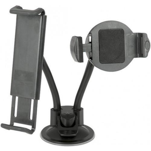Univerzální držák pro mobilní telefony a tablety je možné uchytit jak přední sklo, tak i na palubní desku díky speciální vakuové přísavce.