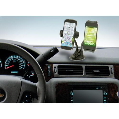 Držák do auta 2v1 na tablet a mobilní telefon lze upevnit na palubovou desku pomocí přísavky.