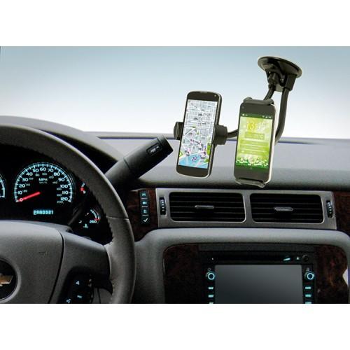 Univerzální držák na tablet a mobilní telefon lze rovněž také připevnit na přední sklo auta pomocí přísavky.