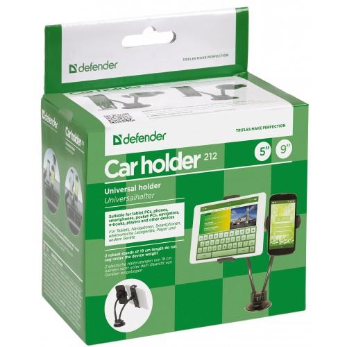 """Držák Car holder 212 dokáže pojmout jakýkoliv přístroje s úhlopříčkou displeje do 5"""" a 9"""" palců. Spolehlivě udrží na tyči i masivní kousky s hmotností až 1 kg."""