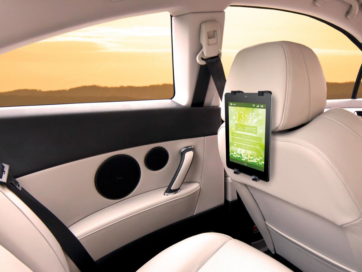 Tento unikátní nastavitelný držák je vhodný pro tablety, iPady, GPS, ebooky a veškeré ploché počítače. Jeho flexibilní konstrukce umožňuje otočit Váš tablet či iPad do jakéhokoli úhlu, dokonce až o 360o, takže můžete nastavit obrazovku horizontálně či vertikálně a v pohodlí sledovat film, seriál ze zadního sedadla v autě.