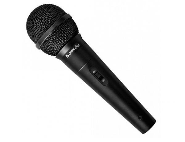 Černé plastové pouzdro mikrofonu Defender vám dobře padne do ruky a nebude klouzat z ruky. Hladký povrch vám zajistí, že jej budete moci používat i delší dobu. Mikrofon obsahuje tlačítko na zapnutí a speciální.