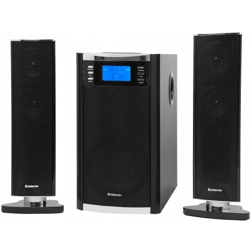 Reproduktorova sestava 65W Defender Sirocco x65 pro akustický 2.1 poslech MP3 hudby, filmu či her s dálkovým ovladačem!