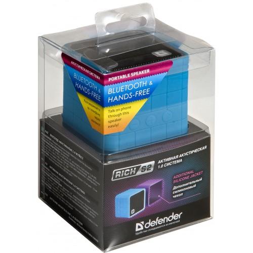 Aktivní Defender Rich S2 - Bluetooth podporující systém reproduktorů 1.0 v sadě s kabely a kryty ze silikonu.