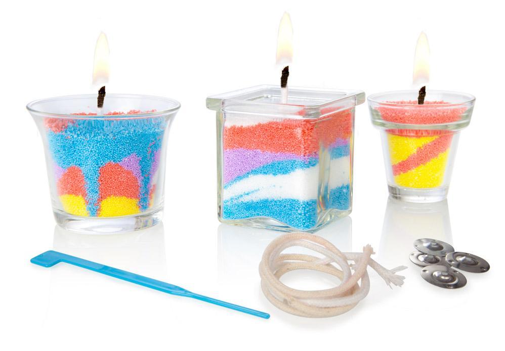 Kreativní sada na výrobu vlastních svíček pro Vaše děti v sadě s příslušenstvím a návodem pro vlastní výrobu barevných svíček!