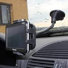Držák do auta pro mobilní telefony, pda, gps navigace, mp5 přehrávače. Flexibilní provedení s husím krkem.