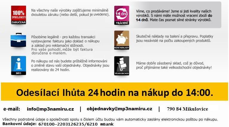 Naše záruky a služby, které Vám můžeme nabídnout na našem internetovém obchodu MP3naMiru.cz, který je pro vás otevřen 24hodin denně!