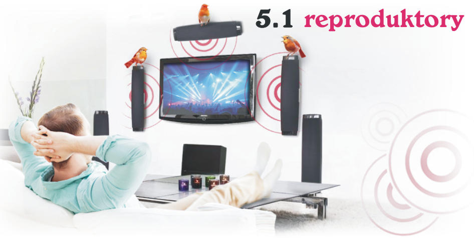 Set 5.1 audio reproduktory k TV, PC, notebooku, apod.