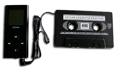 Kazetový adaptér do auta na MP3 pro připojení MP3 přehrávače ke sterému autorádiu..