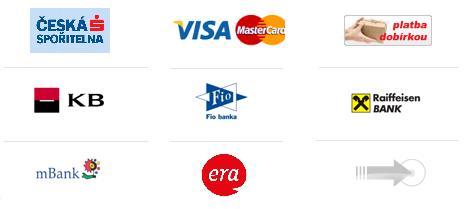 Plaťte u nás přes online platební bránu GoPay pro Visa, MaestroCard, Raiffeisen Bank, Komerční banka, mBank, Fio, bankovním online převodem z jakékoliv banky.