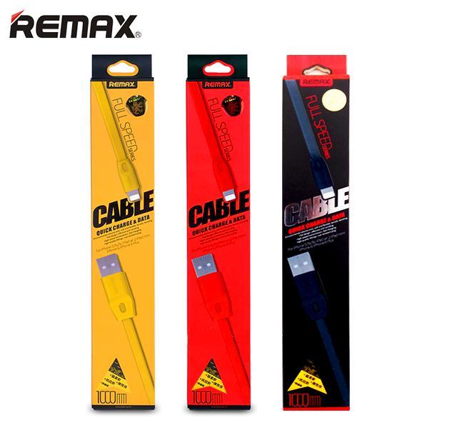 Plochý USB kabel Remax High Speed s Lightning konektorem a metrem pro Apple iPhone, Apple iPad a Apple iPod.