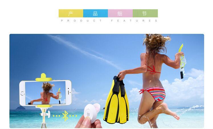 Snadné bezdrátové Wireless Bluetooth propojení držáku k smartphonu s jedním odjimatelným tlačítkem pro focení.