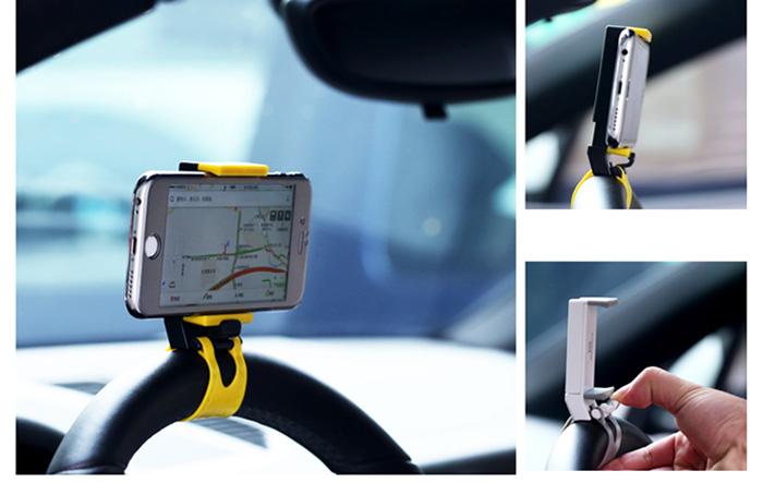 Speciální držák na mobil na volant vhodný na používání GPS či telefonování za jízdy. Lze i použít pro uchycení na řídítka motorky nebo horského kola.