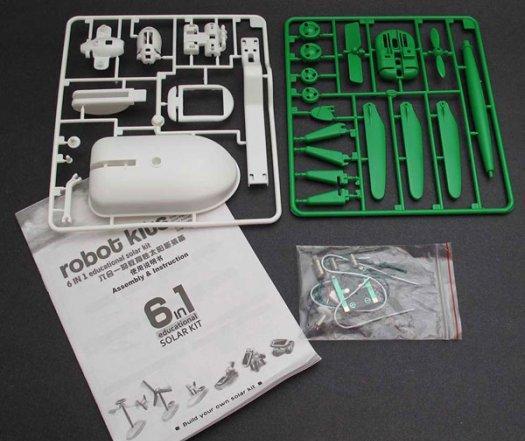 Obsah balení solární hračky 6v1 DIY.