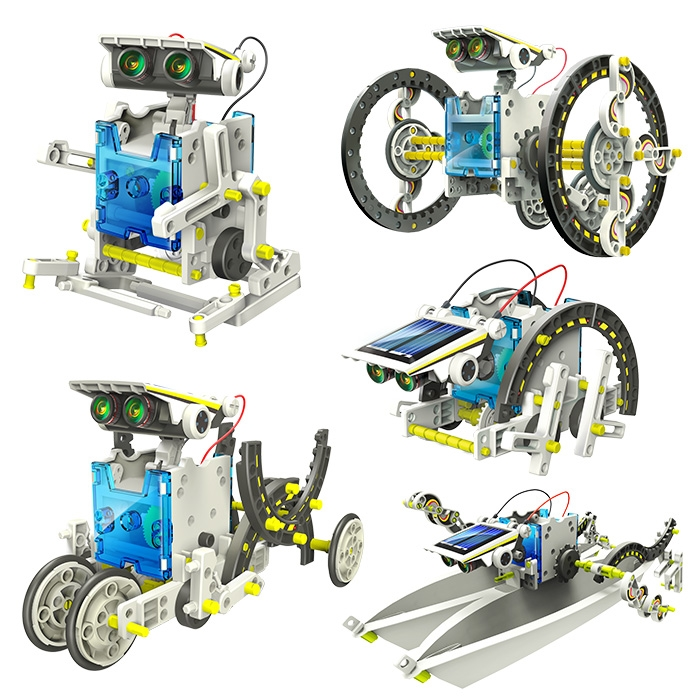 Obojživelná solární stavebnice je plná jedinečných doplňků a dílků, díky kterým si můžete sestavit až 14 různých modelů robotů.