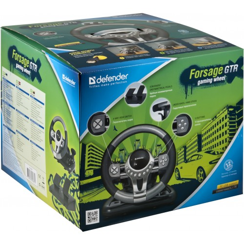 Defender herní volant pro stolní počítače s pedály ve vkusném obalu je vhodný jako dárek!