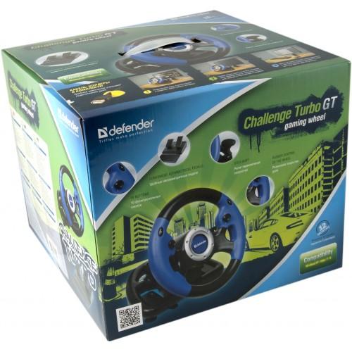 Defender herní volant s pedály a řadicí pákou ve vkusném obalu je vhodný jako dárek!