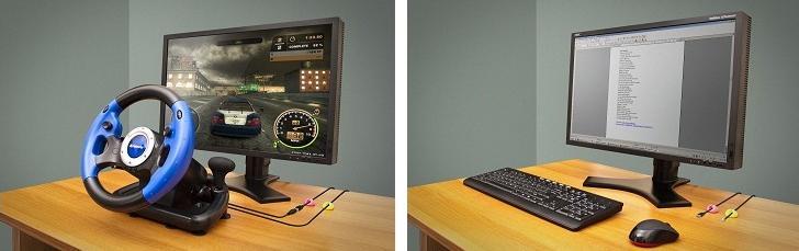 V sadě dva kabelové držáky pro snadnou obsluhu USB volantu zdarma!